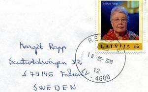 Margit Rapp som frimärke i Lettland.
