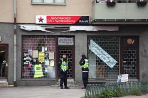Syndikalisternas lokal i Sandviken utsattes för ett attentat på söndagsmorgonen.
