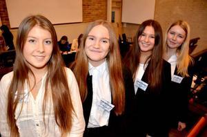 Miriam Hamberg, Anna-Stina Ericson, Lovisa Löfvenberg och Sara Hannerz från Wargentinsskolan deltog i helgens session i Europeiska ungdomsparlamentet. Alla upplevde att deras intresse för politik har ökat efter helgen.