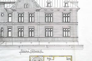 Så här tänkte sig Olof Johansson den södra fasaden på Öjevillan. Det blev några ändringar bland annat när det gäller några fönster innan huset stod klart.