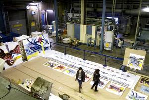"""FABRIKSKONST. Salazar Luna har under en månads tid haft en ateljé inne på Korsnäsfabrikens golv. Anledningen har varit ett konstprojekt om """"levande papper""""."""