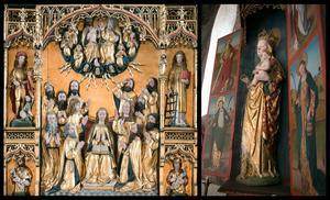 Jesu mor Maria, som dyrkades i den katolska kyrkan, står i centrum i Sorunda kyrkas altartavla. Kyrkan har också behållit sitt katolska madonnaskåp.