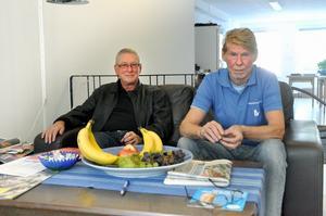 Moderaterna har sitt valhögkvarter på Åsgatan där Melker Andersson och Jonas Carlgren kommer att tillbringa mycket tid fram till valdagen. Foto:Johan Källs