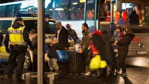 Flyktingar som anlänt till Malmö.