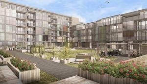 Många lägenheter får delvis inglasade balkonger. Större lägenheter får balkonger åt två håll.