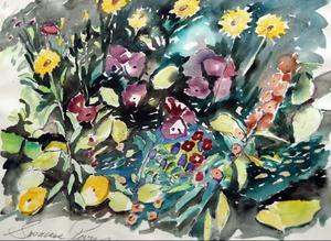 En och annan blomsterakvarell blir det också, även om Susanne oftast målar kvinnor.