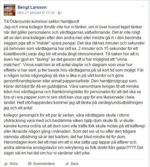 Här är Bengt Larssons hela brev till ledningen för hemtjänsten inom Östersunds kommun.