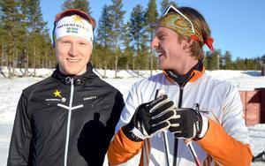 Oskar Svensson med kamraten Lukas Johansson från Rättvik på stadion i Orsa grönklitt.