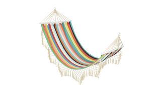 Den randiga hängmattan Ellinor är tillverkad i bomull och tål en maxvikt på 100 kilo. Från Åhléns, 399 kronor.