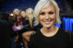 Sanna Nielsen under torsdagens repetitioner inför Melodifestivalens andra deltävling i Linköping.