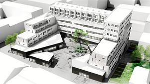 Så här ritar arkitektbyrån Juul och Frost Öbo:s nya huvudkontor med affärslokaler i bottenplanet, lägenheter och radhus på taket.