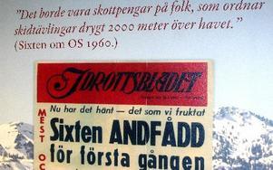 Idrottsbladet löpsedel från 1960 pryder en av väggarna pi museet.