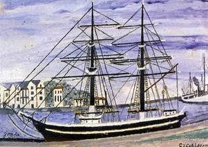 BRIGGEN GERDA, den gamla äkta varianten som på sin tid låg förtöjd i Gavleån, målades av Carlsson med hamnmagasinen i bakgrunden.