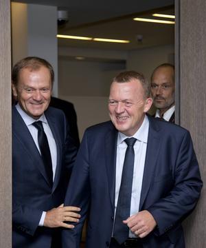 Danmarks statsminister Lars Løkke Rasmussen tillsammans med europarådets Donald Tusk.