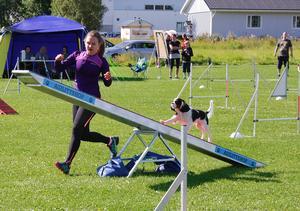 –Det är superkul, vi har tävlat i två år och Lira har utvecklats jättemycket. Det går mycket snabbare nu än det gjorde när vi började, skrattar Malin Jonsson som tävlade agility med sin hund Lira.