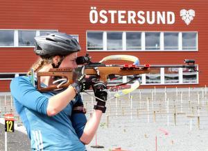 Hanna Öberg, Piteå, sköt bäst av samtliga under träningspasset i måndags förmiddag.