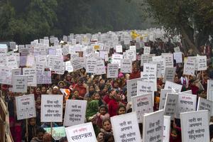 Indier protesterar mot den uppmärksammade gruppvåldtäkten i Dehli i januari.