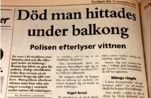 Tingsrättens bild på en artikel från 1994 i Länstidningen Södertälje.