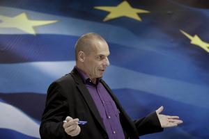 Finansminister Yanis Varoufakis som lovar att avgå vid ett Ja.