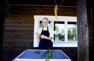 Torkning. Susanne Bilski lägger upp björklöven på ett nät. De ska sedan in i torkrummet innan de används i produkterna. Genom att torka bladen snabbt genom solvärme behåller de näringen.Foto: Britt Mattsson