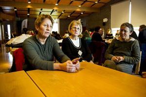 – Det är jättebra att lärarfacken har lämnat in en anmälan till Arbetsmiljöverket, om brister i lärarnas arbetsmiljö, men det är synd att det ska behöva gå så här långt, tycker, från vänster, Ingegerd Häggström, Anneli Wiklund och Lena Sundberg, tre av de tiotalet grundskolelärare som allehanda.se träffade under Lärarförbundets ombudsträff på torsdagen.