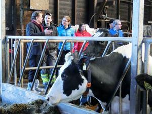 Jens Nilsson, Lennart Karlsson och Therese Zetterman, kommunalråd i Berg, i samtal om förutsättningarna för att bedriva mjölkproduktion i länet.