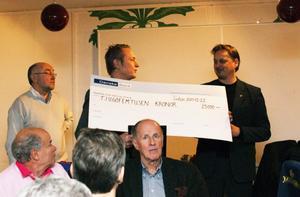 Hans Bark, VD Sidsjö Fastigheter, (till vänster) gav priset för Årets Eldsjäl till Urban Hagblom, GIF Sundsvall.