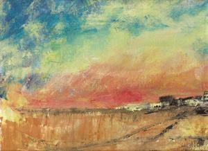 Horisonten bryter färgernas möte. Akrylmålning av Bengt Croneby.