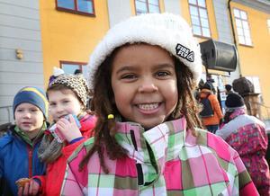 Majula Sätterström från Södra skolan gillar att dansen ska visas på storskärm under VM.