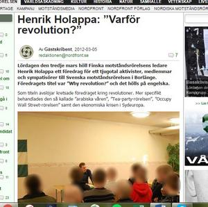 NMR:s nättidning Nordfront rapporterade 2012 om ett föredrag av Esa Henrik Holappa. I dag handlar artiklarna om förräderi och anklagelser om lögner.