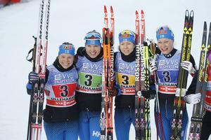 Anne Kylloenen, Laura Mononen, Kerttu Niskanen and Krista Parmakoski, världscupen 6 december 2015.