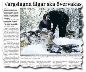 Lördagen den 10 mars. Tidningen berättade att Grimsö forskningsstation vill sätta ut övervakningskameror i vargskogarna.