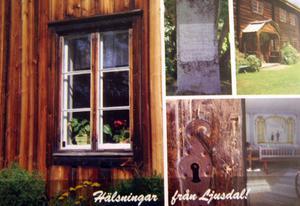 Hembygdsgården i Ljusdal finns på ett av vykorten.