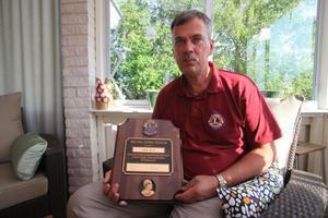 Karl Blid är stolt över att ha fått Lions Melvin Jones utmärkelse.