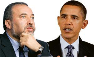 """PINSAMT. Israels utrikesminister Avigdor Lieberman säger nej till president Barack Obamas krav på förhandlingar och en omfattande uppgörelse med palestinier; """"orealistiskt""""."""