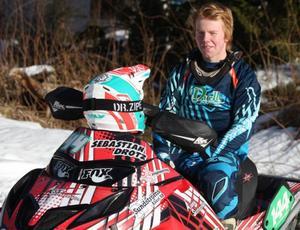 Sebastian Drotz, nybliven Nordisk mästare i snöskotercross.