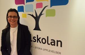 Nya logotypen. - Den nya loggan symboliserar mångfald, kreativitet och livskraft, säger rektor Annika Eriksson.