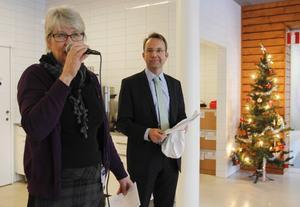 Ann-Marie Johansson (S), regionstyrelsens ordförande, och Björn Eriksson, regiondirektör, talade i samband med invigningen av Region Jämtland Härjedalen.