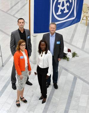 De vill ha fler kvinnliga ingenjörer och chefer. Sektionschefen Fredrik de Wahl, kontorsansvarige Kenneth Johansson, marknadsutvecklaren Caroline Wallmark från Sundsvallskontoret, samt Nyamko Sabuni som är ÅF:s hållbarhetschef.
