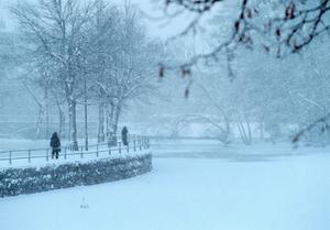 Kraftigt snöfall på Södra Strandgatan 2003.