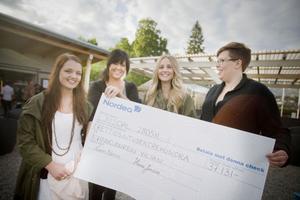 Linn Norin (vänster) och Hanna Jonsson (mitten) lämnade i samband med Stefan Sundströms spelning över pengarna till kvinnojourens representanter Emma Brandt, vice ordförande, och Frida Wennberg.