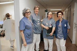 Stressen har minskat, tycker flera anställda som DT träffar om nyordningen på vårdcentralen: Från vänster: Ingela Persson, Maria Gehlin, Carina Tägtström och Marie Kjerulf.