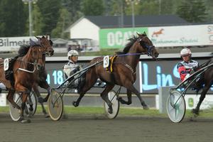 Nummer 3, Hästen Bowling Karma och kusken Magnus Jakobsson var en av de startande i V75 lopp ett.