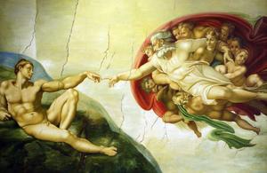 Takmålning av Michelangelo. Han var en italiensk målare, skulptör, poet och arkitekt på 1500-talet.