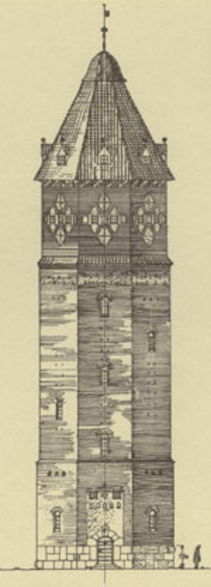 Avesta vattentorn.  I Cyrillus version en medeltida borg. Ritning: Avesta kommun