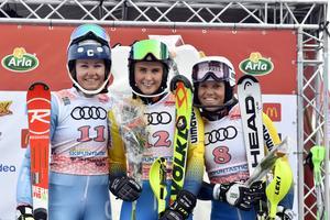 Charlotta Säfvenberg, Umea, tvåa, Emelie Wikström, Sävsjö etta och Sara Hector Kungsberget trea.