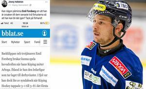 Arboga Army brukar försöka få KHC-backen Emil Forsberg ur balans. Frågan är om Jimmy Hellströms inlägg på facebook blir den rätta tändvätskan för Köpings poängledare.