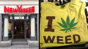 Här i butiken New Yorker på Köpmangatan kan du köpa t-shirten som hyllar drogen cannabis.
