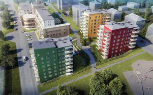 Kommunen har beviljat bygglov för tre nya punkthus vid Tobaksmonopolet, på bilden det gula, det röda och det gröna, som tillsammans ska ge 84 lägenheter i bostadsrättsföreningen Mälarhamnen.