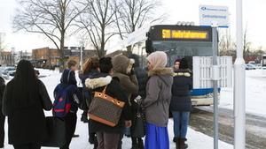 Torsdag morgon. Klockan är nio och det är dags för det här Hallstagänget att ta sig till Västerås. Från det klockslaget börjar bussarna gå en gång i halvtimmen, men mellan klockan sex och nio behöver pendlare inte vänta längre än 15 minuter på nästa buss. Foto: Jessica Andersson